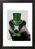 Badger with Green Top Hat and Moustache Art by  Fab Funky