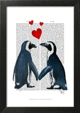 Penguins With Love Hearts Poster by  Fab Funky