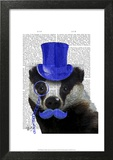 Badger with Blue Top Hat and Moustache Art by  Fab Funky