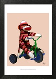Sock Monkey Tricycle Art by  Fab Funky