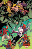 Marvel Secret Wars Cover, Featuring: Spider-Ham, Spider-Gwen, Spider-Man, Spider Woman Plastic Sign