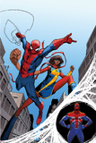 The Amazing Spider-Man No. 7 Cover, Featuring: Spider-Man, Ms. Marvel, Spider-UK Prints by Giuseppe Camuncoli