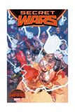 Marvel Secret Wars Cover, Featuring: Thor (Female), Odin, Frog Thor, Thor Girl and More Print