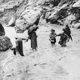 Sir Edmund Hillary's Himalayan Expedition Crossing a Mountain Torrent Photo