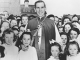 Bishop Fulton Sheen with Irish Children in Choghan County, Roscommon, Ireland Photo