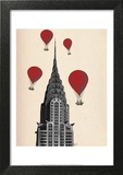 Chrysler Building and Red Hot Air Balloons Prints by  Fab Funky