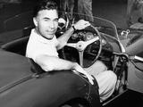 Porfirio Rubirosa at the Wheel of His Italian Race Car, a $17,000 Ferrari Mondial Photo