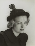 Grace Kelly Modeling a Veiled Hat at Age 19 in 1949 Photo