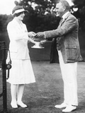 Helen Wills, Tennis Champion from California Receiving Trophy Photo