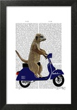 Meerkat on Dark Blue Moped Prints by  Fab Funky
