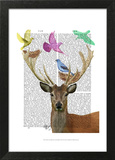 Deer and Birds Nests Pastel Shades Print by  Fab Funky