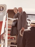 Dwight and Mamie Eisenhower on Steps of 'Columbine', the President's 'Air Force One' Photo