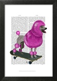 Pink Poodle and Skateboard Prints by  Fab Funky