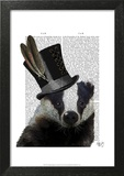 Steampunk Badger in Top Hat Prints by  Fab Funky