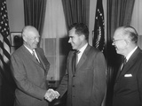 President Eisenhower Shaking Richard Nixon's Hand on His Return from the Ussr Photo