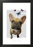 Brown French Bulldog and Butterflies Posters by  Fab Funky