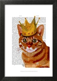 Ginger Cat with Crown Portrai Poster by  Fab Funky