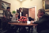 Oval Office Meeting on the Evening of Sept. 11, 2001, after 9-11 Terrorist Attacks Photo