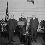 President Coolidge Flanked by Party Leaders at His 'Notification Ceremony' Photo