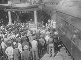 Harding-Coolidge Theatrical League Train Arriving in Marion, Ohio, August 24, 1920 Photo