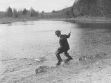 President Calvin Coolidge Fishing with a Rod and Net in a Pond Photo