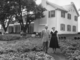 President and Mamie Eisenhower in the Garden of their Gettysburg Home Photo