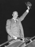 President Eisenhower Waving His Hat from Airplane Steps Photo