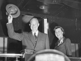 President Eisenhower and Wife Mamie Wave from the Back of a Train Photo