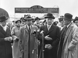 Richard Nixon, Conrad Adenauer, John Foster Dulles at Washington Airport Photo