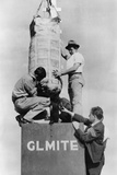 Lester P. Barlow Supervising the Set Up of His 'Glmite' Bomb Photo