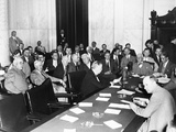 The Witnesses and Senators at the Senate Banking and Currency Committee Hearing Photo