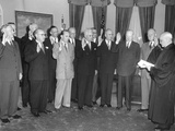Swearing in of the Second Hoover Commission by Justice Harold H. Burton (Right) Photo