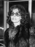 Sophia Loren in Large Sunglasses and Fur at Rome's Airport, May 14, 1974 Photo