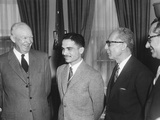 President Eisenhower with King Hussein I of Jordan in the Oval Office Photo