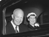 President and Mamie Eisenhower Smiling from a Limousine Photo