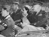 Kay Summersby Seated Between Generals Eisenhower and Mark Clark in a Jeep Photo