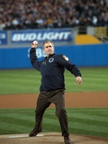 President George W. Bush Throws the Ceremonial First Pitch at Yankee Stadium Photo