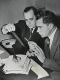 Richard Nixon Examines the 'Pumpkin Paper' Microfilms with Robert Stripling Photo