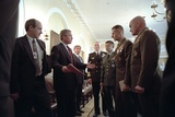 President George W. Bush with Chiefs of Staff, Oct. 24, 2001 Photo