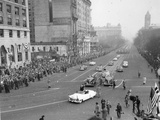 President Eisenhower Standing in an Open Car in the Inaugural Parade Photo