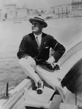 Benito Mussolini Seated on Boat, Facing Left, Wearing Summer Suit Photo