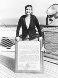 Barbara Hutton, Woolworth Heiress, on the Deck of an Ocean Liner Photo