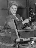 Swedish Actress, Ingrid Bergman Knitting on a Rko Set Ca Photo