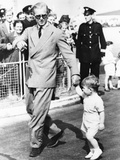 Prince Philip and His Son Prince Charles, at London Airport Photo
