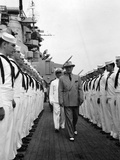 President Harry Truman Inspects the Personnel of the Uss Missouri Photo