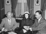 President Eisenhower with Champion Golfer Ben Hogan and His Wife in the Oval Office Photo