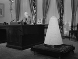 President Eisenhower Giving a Television Speech About Science and National Security Photo