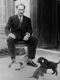 Mustafa Kemal Ataturk, President of Turkey, with His Pet Dogs, Ca. 1930 Photo