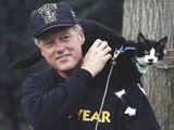 President Bill Clinton with Socks the Cat Perched on His Shoulder Photo