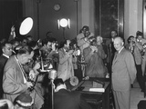 Photographers Surround President Eisenhower at a Press Conference on April 30, 1953 Photo